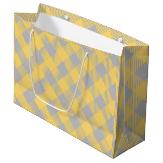 Trendy Yellow and Gray Check Gingham Pattern Large Gift Bag