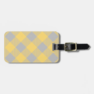 Trendy Yellow and Gray Check Gingham Pattern Luggage Tag
