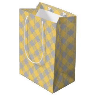 Trendy Yellow and Gray Check Gingham Pattern Medium Gift Bag