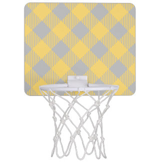 Trendy Yellow and Gray Check Gingham Pattern Mini Basketball Hoop