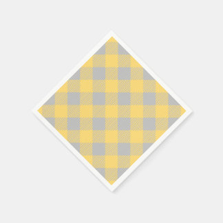 Trendy Yellow and Gray Check Gingham Pattern Napkin