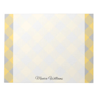 Trendy Yellow and Gray Check Gingham Pattern Notepad