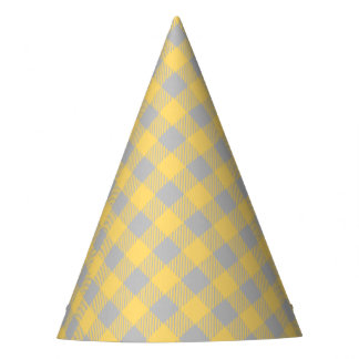 Trendy Yellow and Gray Check Gingham Pattern Party Hat