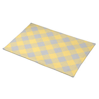 Trendy Yellow and Gray Check Gingham Pattern Placemat