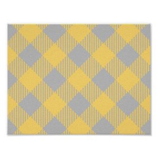 Trendy Yellow and Gray Check Gingham Pattern Poster