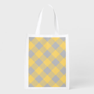 Trendy Yellow and Gray Check Gingham Pattern Reusable Grocery Bag