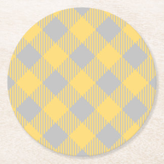 Trendy Yellow and Gray Check Gingham Pattern Round Paper Coaster