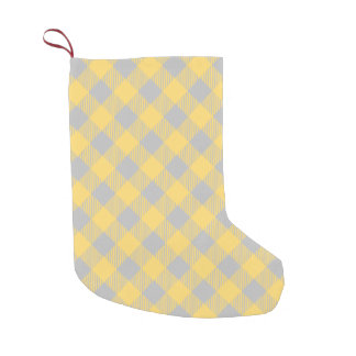 Trendy Yellow and Gray Check Gingham Pattern Small Christmas Stocking