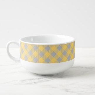 Trendy Yellow and Gray Check Gingham Pattern Soup Mug
