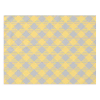 Trendy Yellow and Gray Check Gingham Pattern Tablecloth