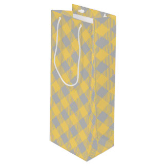Trendy Yellow and Gray Check Gingham Pattern Wine Gift Bag