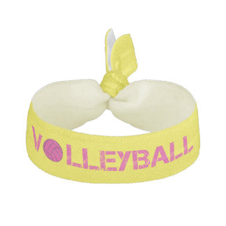 Trendy Yellow and Pink Volleyball Hair Tie