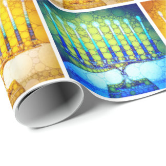 Trendy Yellow Blue Hanukkah Menorahs Pattern Photo Wrapping Paper