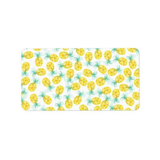 Trendy yellow green watercolor pineapple pattern label