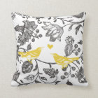 Trendy Yellow Grey and White Floral Bird Pattern Throw Pillow