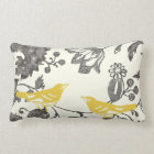 Trendy Yellow Grey Ivory Vintage Floral Bird Lumbar Pillow