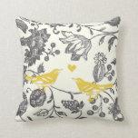 Trendy Yellow Grey Vintage Floral Bird Pattern