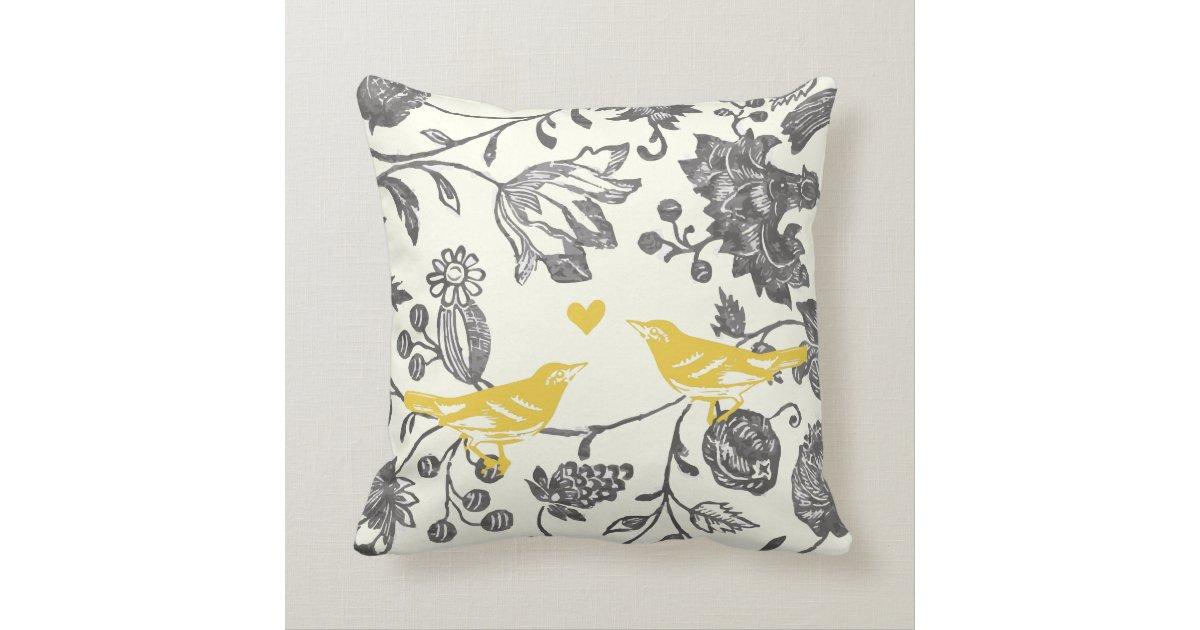 Trendy Yellow Grey Vintage Floral Bird Pattern Throw Pillow Zazzle