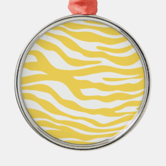 Trendy Yellow Zebra Print Pattern Silver-Colored Round Ornament