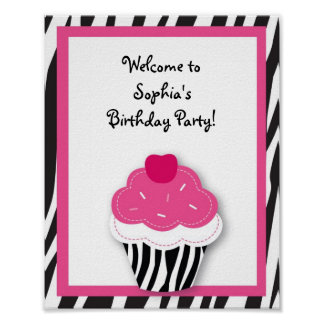 Trendy Zebra Cupcake Baby Shower Sign Poster