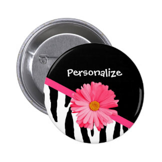 Trendy Zebra Pattern Girly Pink Daisy With Name 2 Inch Round Button