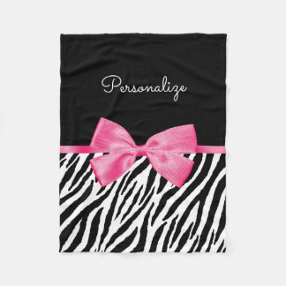 Trendy Zebra Print Chic Hot Pink Bow and Name Fleece Blanket
