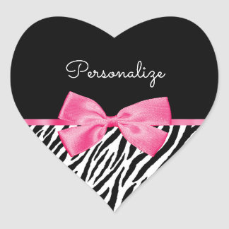 Trendy Zebra Print Chic Hot Pink Bow and Name Heart Sticker