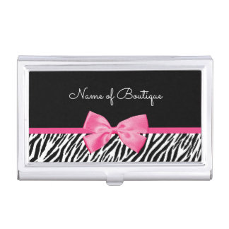 Trendy Zebra Print With Chic Pink Bow Boutique Business Card Holder