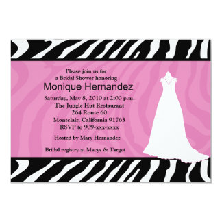 "TRENDY ZEBRA STRIPE Pink Bridal Shower 5x7 5"" X 7"" Invitation Card"