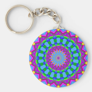 Trendy Zigzag Blue and Purple Kaleidoscope Circle Keychain