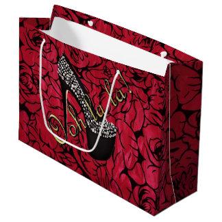 Tres Chic Rouge Fleurs Large Gift Bag