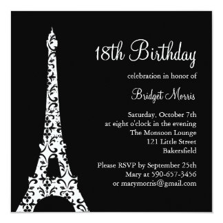 Tres Paris Birthday Invitation (black)