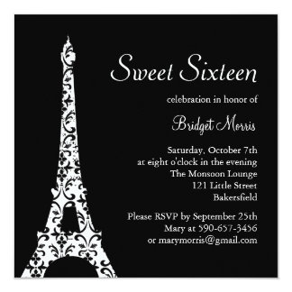 Tres Paris Sweet Sixteen Birthday Invitation