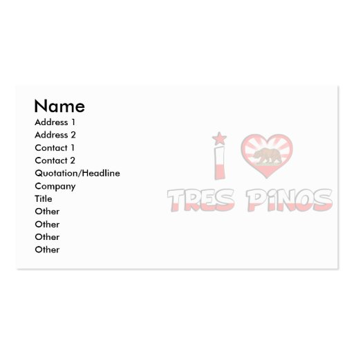 Tres Pinos, CA Business Card