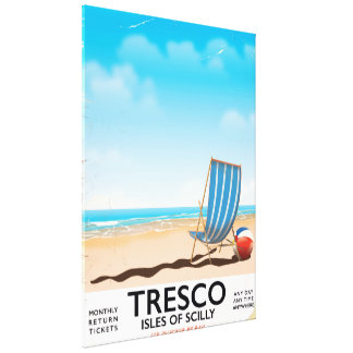 Tresco Isles of Scilly vintage train poster Canvas Print