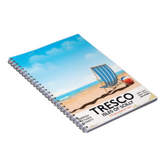 Tresco Isles of Scilly vintage train poster Notebook