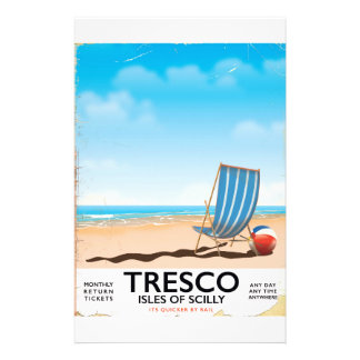Tresco Isles of Scilly vintage train poster Stationery