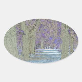 Tress in a park oval sticker