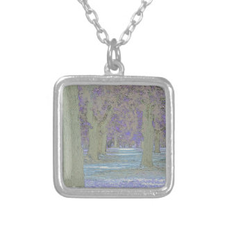 Tress in a park silver plated necklace