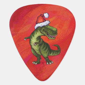 TRex Dino dans le chapeau de Père Noël sur le Onglet De Guitare
