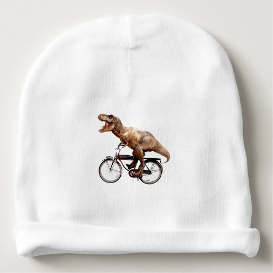 Trex riding bike baby beanie