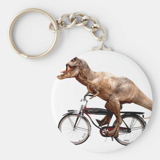 Trex riding bike basic round button keychain