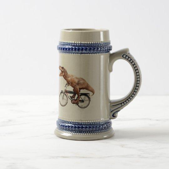 Trex riding bike beer stein