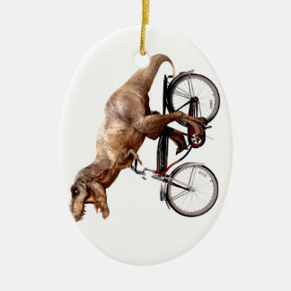 Trex riding bike ceramic ornament