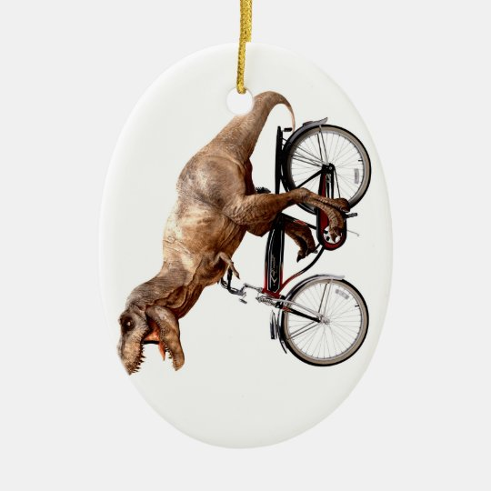 Trex riding bike ceramic ornament