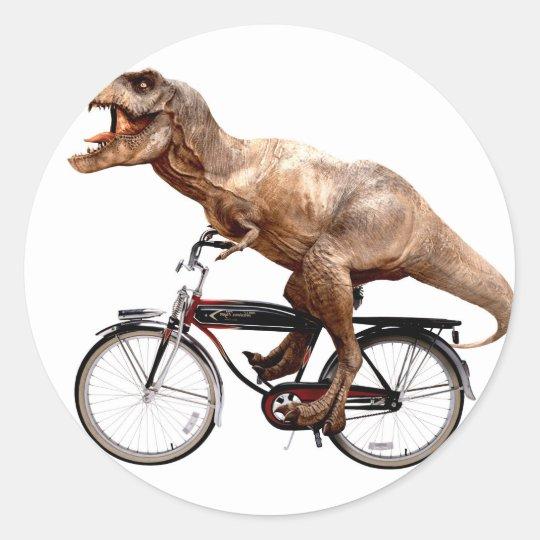 Trex riding bike classic round sticker