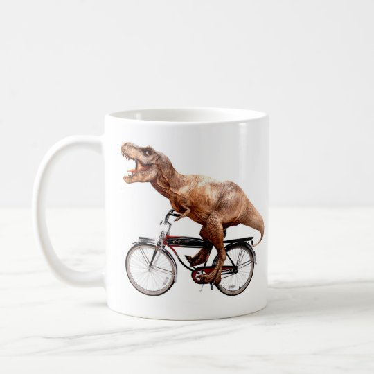 Trex riding bike coffee mug