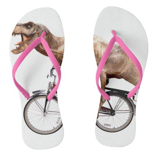 Trex riding bike flip flops