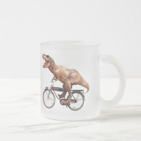 Trex riding bike frosted glass coffee mug