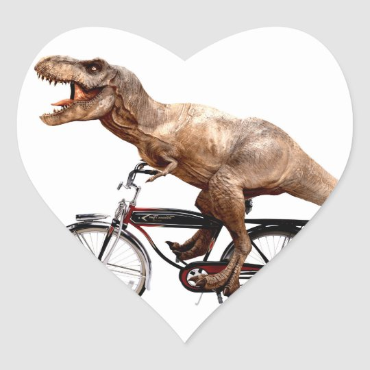 Trex riding bike heart sticker